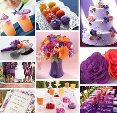 Orange and purple fall wedding color scheme