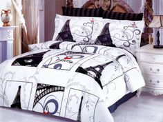 Eiffel Gray Bedding by LeVele Home  LE91Q City of Paris Themed Full/Queen Duvet Cover Set - CLICK IMAGE for info and more Parisian Bedding @ www.designedtoinspirebedding.com