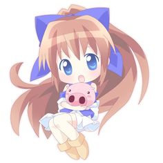chibi girl with pig