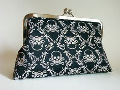 Sparkly Skulls Clutch Bag Purse by Lolis by loliscreations on Etsy, $49.00