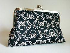 Sparkly Skulls Clutch Bag Rockabilly Purse Goth by loliscreations, $49.00
