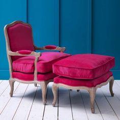 Antoinette Armchair and Footstool in Fuchsia Velvet