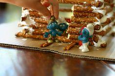 pretzel stick log cabin - great idea for pilgrim & cowboy units!