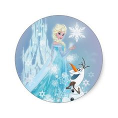 Elsa and Olaf - Icy Glow Sticker disney elsa olaf walt disney frozen movie frozen snowman elsa the snow queen disney princess the snow queen