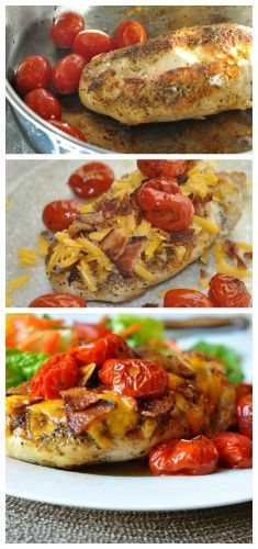 Quick Dinner Idea: Cheesy Bacon and Tomato Chicken - Always a crowd pleaser!