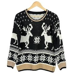 Lychee Women's Snowflake Reindeer Snowman Christmas Patterns Pullover... ($14) ❤ liked on Polyvore featuring tops, sweaters, christmas tops, pattern sweater, christmas sweater, black christmas sweater and black top