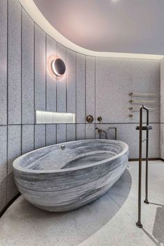 We worked with the Joyce Wang team to create this bespoke marble bathtub design in stunning Palissandro Blue marble, featured in the stunning Mandarin Oriental, Hong Kong.⁠ A breathtaking bathroom design for a luxury hotel.