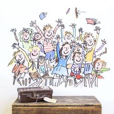 Transform your walls with this splendiferous sticker of smiling children, illustrated by Quentin Blake for Roald Dahl's 'Matilda'. Quentin Blake Illustrations, Childrens Bookcase, Classroom Images, Small Drawings, Most Popular Books, Childrens Wall Stickers, Line Illustration, Roald Dahl, Kids Reading