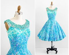 vintage 1950s dress / 50s dress / Blue and Lavender Party Dress with Rhinestones