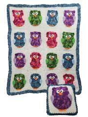 Owl Blanket & Pillow Crochet Pattern from AnniesCatalog.com.