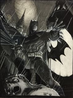 Black and white colored pencil by Sean Manning Pencil by Jim Lee Jim Lee, Batman Art, Colored Pencils, My Arts, Superhero, Black And White, Awesome, Projects, Fictional Characters