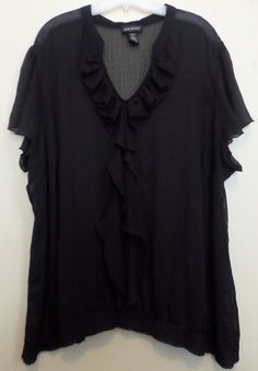 Gorgeous sheer top by Lane Bryant. Black with black polka dots. Love the ruffle detail! Plus size 4x 26/28 #ThePlusSide
