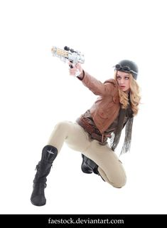 Browncoat - Stock Reference 16 by faestock female steampunk pilot fighter pistol gun boots helmet goggles cosplay costume LARP LRP armor clothes clothing fashion player character npc | Create your own roleplaying game material w/ RPG Bard: www.rpgbard.com | Writing inspiration for Dungeons and Dragons DND D&D Pathfinder PFRPG Warhammer 40k Star Wars Shadowrun Call of Cthulhu Lord of the Rings LoTR + d20 fantasy science fiction scifi horror design | Not Trusty Sword art: click artwork for…