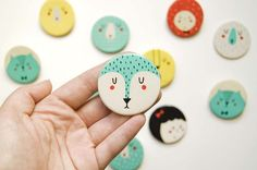 Paint acrylic on wood discs. Pendant earrings or brooch. porcelain brooches by studio meez