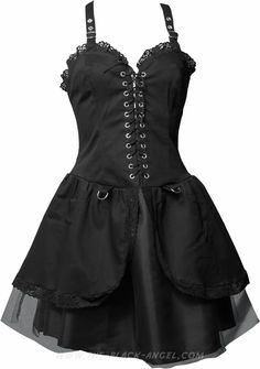 Modern gothic short dress by Aderlass, black cotton with voile, laced on the front.