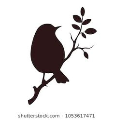 Vector bird silhouette isolated on white. Decorative bird sitting on twig of tre… Vector bird silhouette isolated on white. Decorative bird sitting on twig of tree. Vogel Silhouette, Bird Silhouette Tattoos, Flying Bird Silhouette, Flower Silhouette, Silhouette Clip Art, Animal Silhouette, Bird Stencil, Stencil Patterns, Bird Drawings