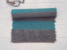 Grey and teal rug soft and thick fluffy rug striped rug