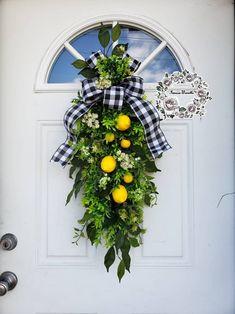 Lemon Wreaths for Front Door Lemon Swag Summer Wreaths Farmhouse Wreaths Etsy Swags for Front Door Citrus Wreath Lemon Decor Round Year Swag Poppy Wreath, Lemon Wreath, Outdoor Wreaths, Easter Wreaths, Summer Wreath, Wreaths For Front Door, Grapevine Wreath, Grape Vines, Swag