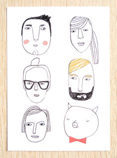 Eco postcard set house faces and sad girl by kimslittlemonsters  Kim Welling