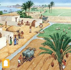 The daily life in ancient Mesopotamian villages: Agriculture, irrigation system.