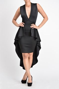 Solid sleeveless peplum dress with low v-neckline, high waist fit, and high low hem detail.