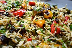 Orzo Salad with Roasted Vegetables Choose your backyard party style as well as shade, perhaps Vegetable Pasta Recipes, Roasted Vegetable Pasta, Orzo Salad Recipes, Baked Vegetables, Vegetarian Recipes, Healthy Recipes, Pasta Salad, Wonderful Recipe, Healthy Dishes