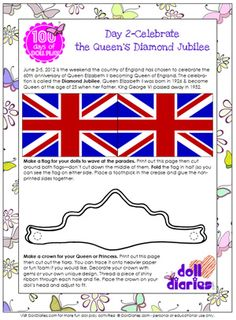 Celebrate Queen's Diamond Jubilee with doll sized flag and tiara printables & tea tips from The Queen's Treasures