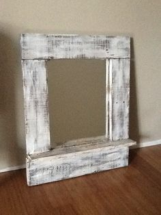 #Painted #Mirror #Frame - I took an old mirror, made a frame from old pallet wood and painted to look vintage. http://www.mycraftkingdom.com