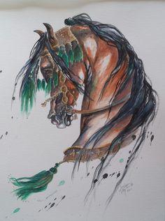 Arabian Art, Arabian Horses, Horse Face, Janus, Horse Drawings, Equine Art, Watercolor Techniques, Painting & Drawing, Watercolor Art