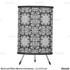Black and White Abstract Geometric Ornament Twirls Tripod Lamp