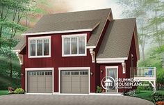 W3933 - Garage Apartment House Plan With 2 Bedrooms, Open Floor Plan And Balcony