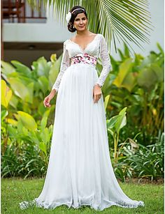 Sheath/Column V-neck Empire Floor-length Long Sleeve Zipper Lace Illusion Beach/Destination Wedding Dress #169411(More color option)