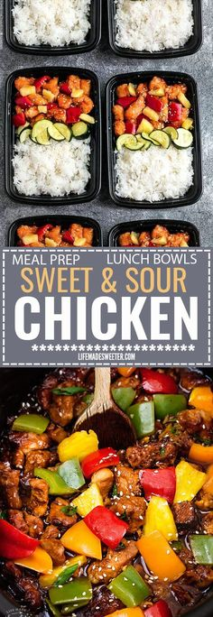 Slow Cooker Sweet and Sour Chicken Meal Prep Lunch Bowls - coated in a sweet, savory and tangy sauce that is even better than your local takeout restaurant! Best of all, it's full of authentic flavors and super easy to make with just 15 minutes of prep time. Skip that takeout menu! This is so much better and healthier! Weekly meal prep for the week and leftovers are great for lunch bowls for work or school.