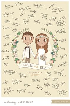 Custom Wedding Guest Book Print Couple Portrait by Clare Vacha #weddingguestbook
