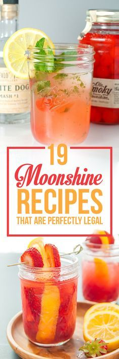 19 Moonshine Recipes That Are Perfectly Legal is part of food_drink - It's National Moonshine Day Cheers! Bar Drinks, Cocktail Drinks, Cocktail Recipes, Alcoholic Drinks, Beverages, Bourbon Drinks, Bartender Drinks, Cocktail Desserts, Vodka Drinks