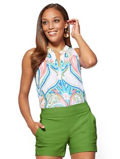 Shop 7th Avenue - Hi-Lo Split-Neck Blouse - Print. Find your perfect size online at the best price at New York & Company.