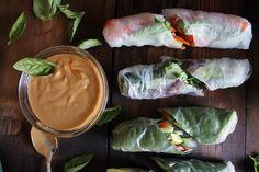 Fresh summer rolls with basil, avocado, kale + spicy garlic peanut sauce