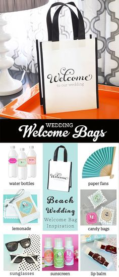 Wedding Welcome Bags for a beach theme wedding are perfect for a Destination Wedding or Beach Wedding. by Mod Party