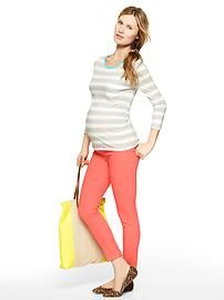 Maternity-Spring/Summer-Gray/Wht Striped Shirt-Coral Skinnies-Casual Flats