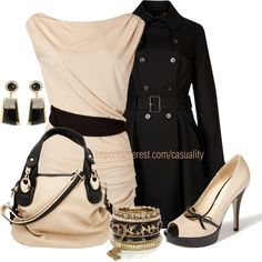 """Beige & Black Chic"" by casuality on Polyvore"