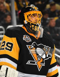 Marc-Andre Fleury (born November 28, 1984 in Sorel, QC.) 2016-17 Mask  Pittsburgh Penguins   Artist: Stephane Bergeron of Griff Airbrush  Fleury has a black mask to wear with home jerseys and a white mask for the away jerseys.