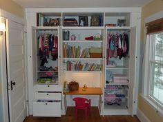 IKEA Hackers: Kid's Built-In Wardrobe Closet  base out of 2x4 lumber, placed the STUVA systems on the 2x4's and added a custom storage area on top of the storage units that was made out of MDF