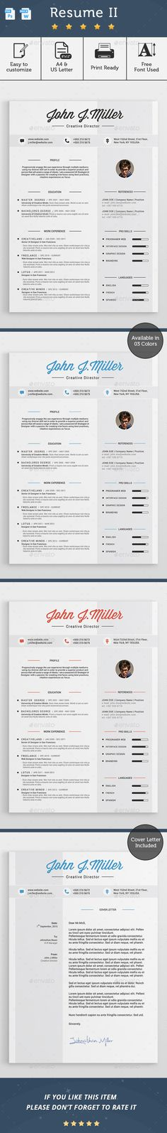Best Resume Template - CV Template - Free Cover Letter - MS Word - contemporary resume template free