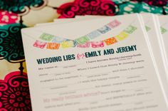 #wedding mad libs printed on Papel Picado #stationary