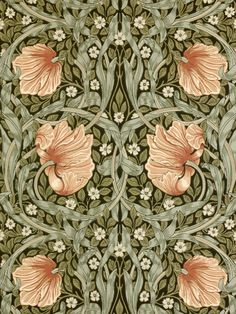 Buy Bay Leaf / Manilla, 210388 Morris & Co. Pimpernel Wallpaper from our Wallpaper range at John Lewis & Partners. Free Delivery on orders over William Morris Wallpaper, William Morris Art, Morris Wallpapers, Floral Wallpapers, Fleurs Art Nouveau, Red Colour Palette, Purple Wallpaper, Floral Pattern Wallpaper, Vintage Wallpaper Patterns
