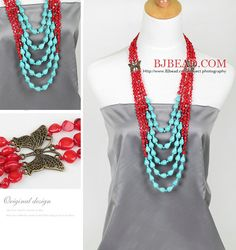 multi strand red coral and turquoise necklace - Bjbead.com
