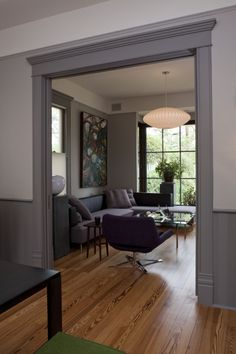 White walls with grey trim and bottom of walls trimmed out. Gray Interior, Interior Trim, Interior Design, Dark Trim, Grey Trim, White Trim, Light Grey Walls, White Walls, Gray Walls