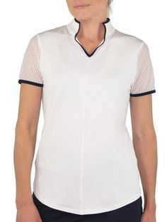 If you're in the market for some new outfits, consider our women's apparel! Shop this comfortable and stylish Firecracker (White) JoFit Ladies & Plus Size Short Sleeve Mesh Golf Mock Shirt from Lori's Golf Shoppe.