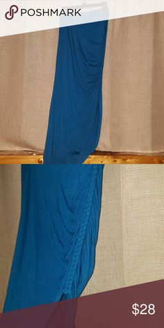 NWT Loveappella Asymmetrical skirt w/braid detail Beautiful vibrant ocean blue maxi skirt with an asymmetrical bottom, and braided side detailing. This came in my Stitch Fix and it adorable! Loveappella Skirts