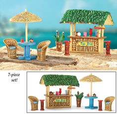 Tiny Tiki Bar Set for the Miniature Garden